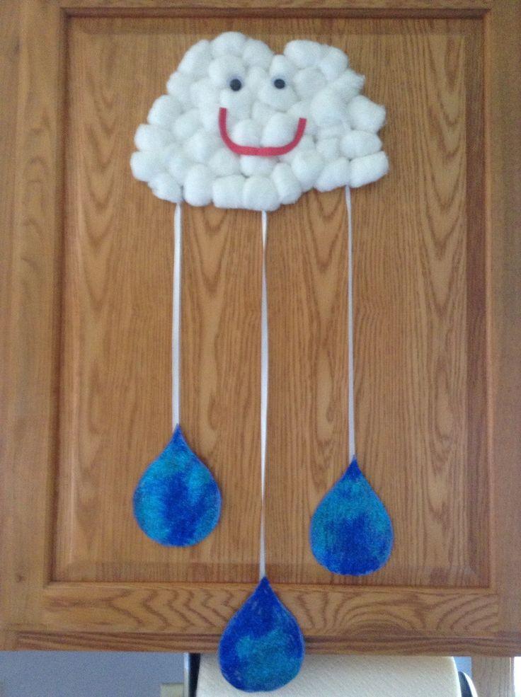 Preschool Arts Crafts  Cotton ball cloud and rain drops…we will make a few more