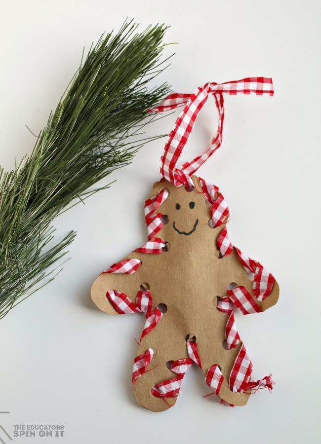Preschool Christmas Ornament Craft Ideas  How to Make a Hand Sewn Gingerbread Man Ornament With Your