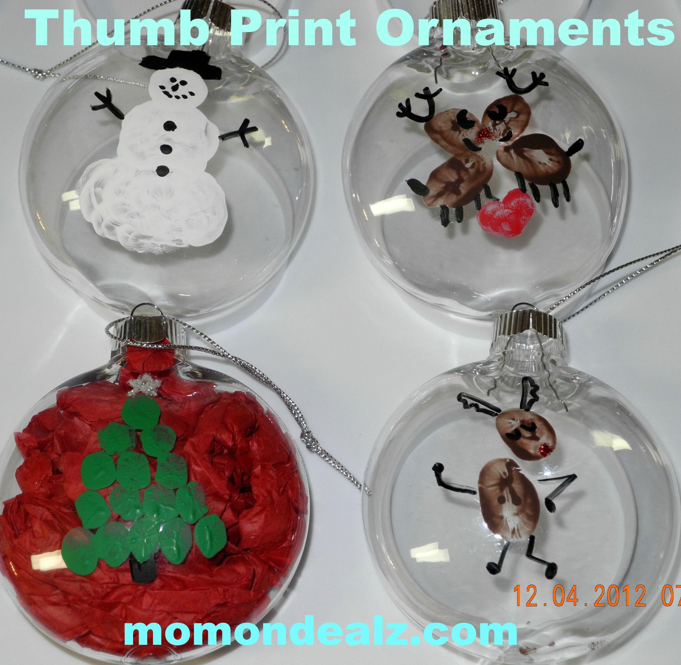 Preschool Christmas Ornament Craft Ideas  Thumb print ornaments ing maybe giving them a coat