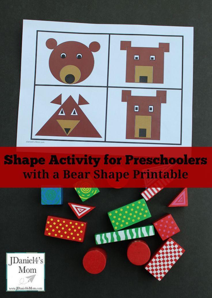 Preschoolers Craft Activities  Shape Activity for Preschoolers with Free Bear Shape