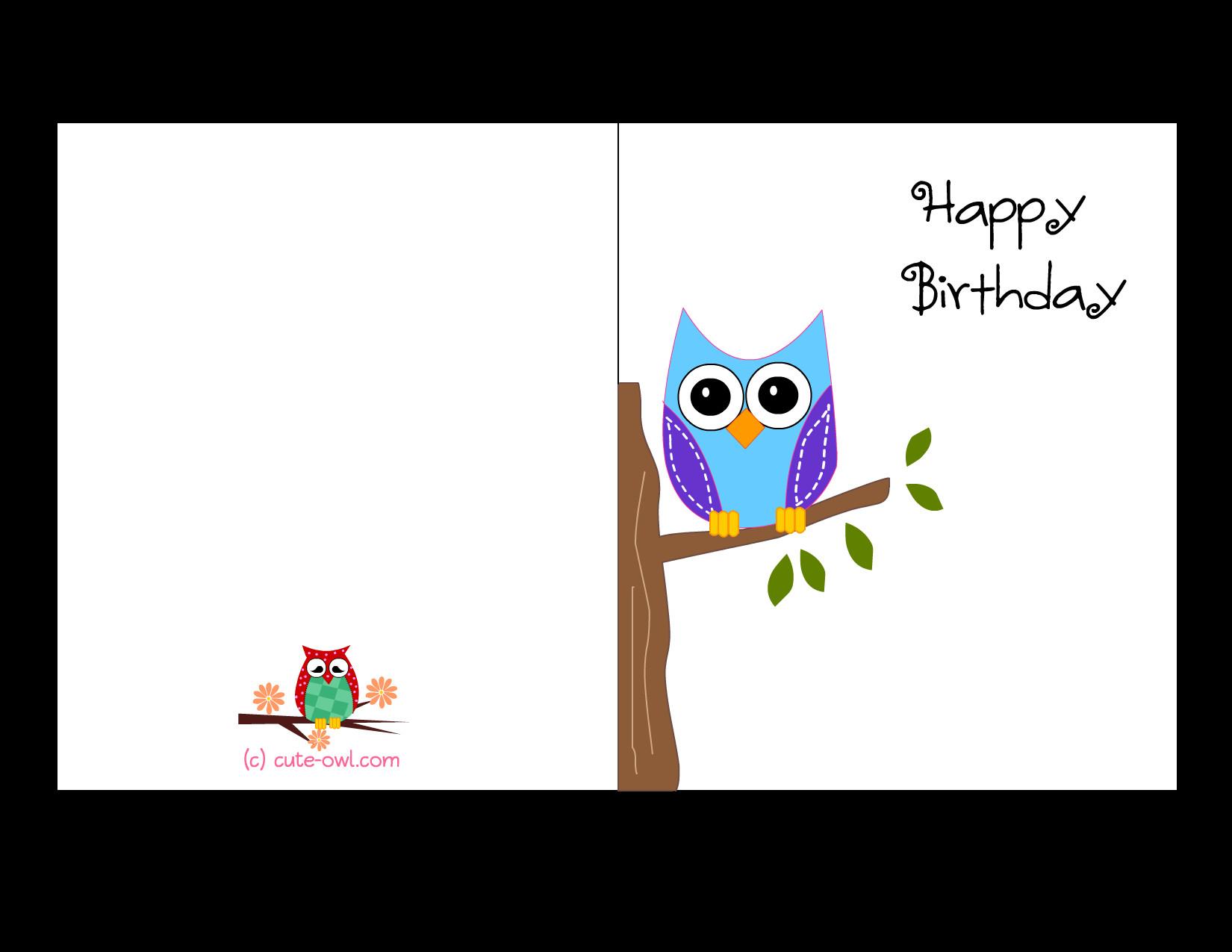 Printable Birthday Card Template  Free Printable Cute Owl Birthday Cards