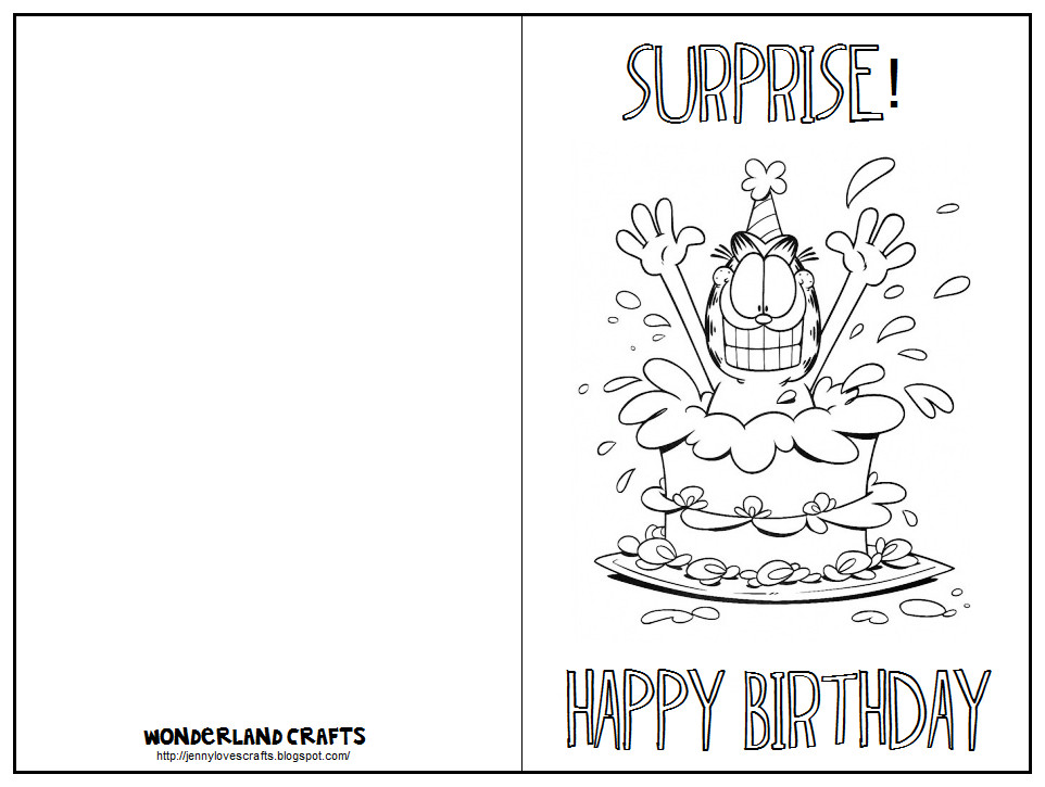 Printable Birthday Card Template  Wonderland Crafts Birthday