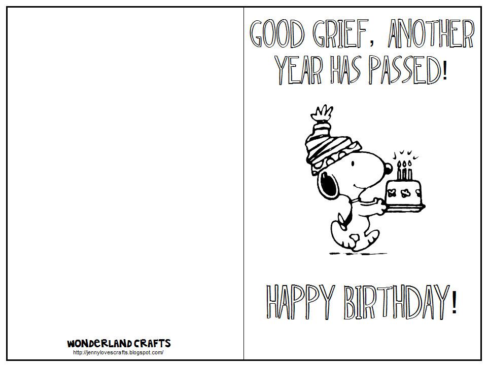 Printable Birthday Card Template  Wonderland Crafts Template