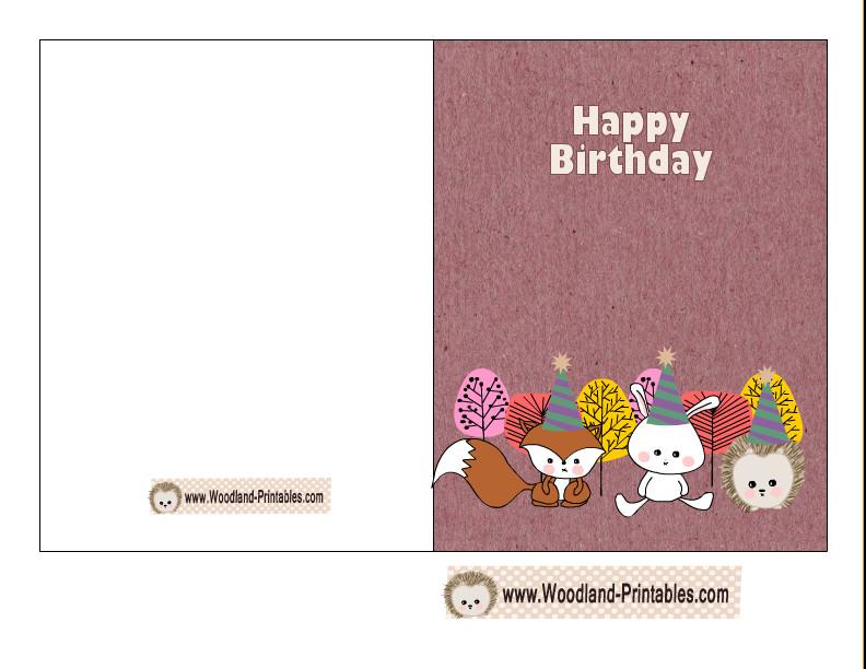 Printable Birthday Card Template  Cute Woodland Birthday Card Printable