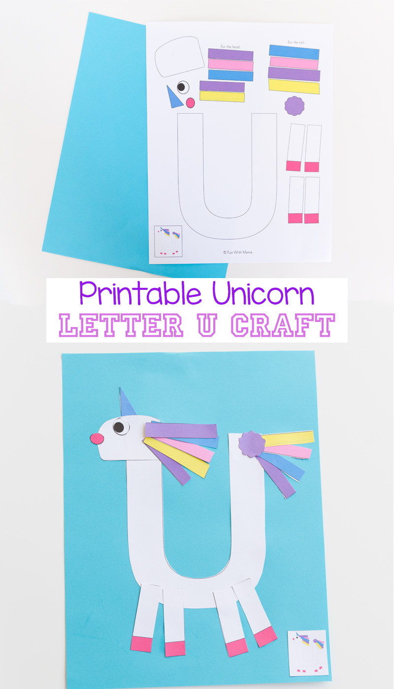 Printable Crafts For Preschoolers  Printable Letter U Craft Unicorn Fun with Mama
