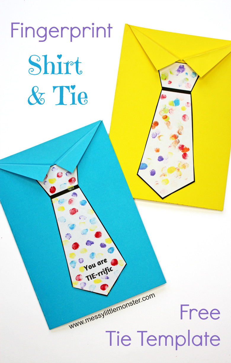Printable Crafts For Preschoolers  Father s Day Tie Card with free printable tie template