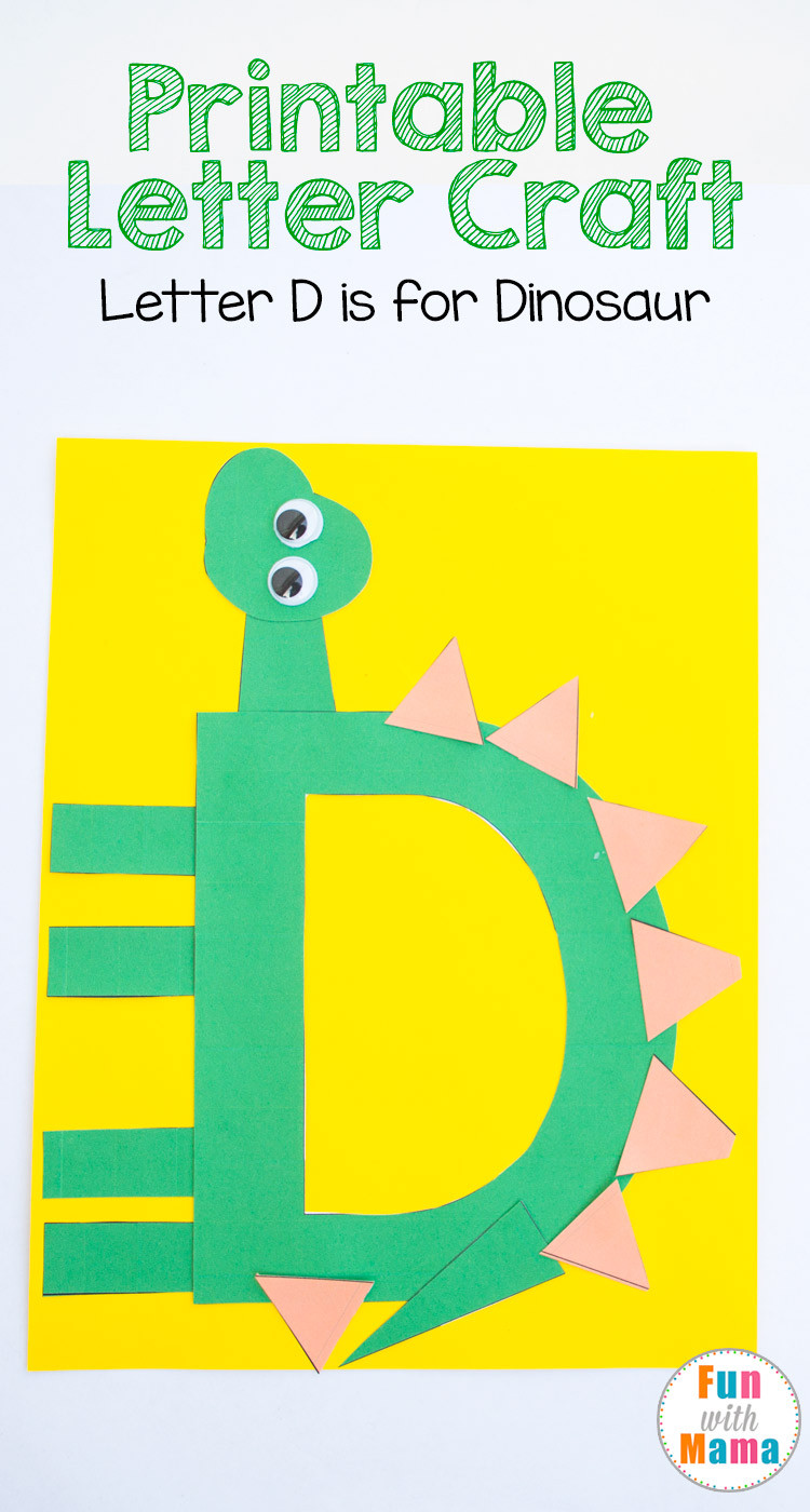 Printable Crafts For Preschoolers  Printable Letter D Crafts D is for Dinosaur Fun with Mama