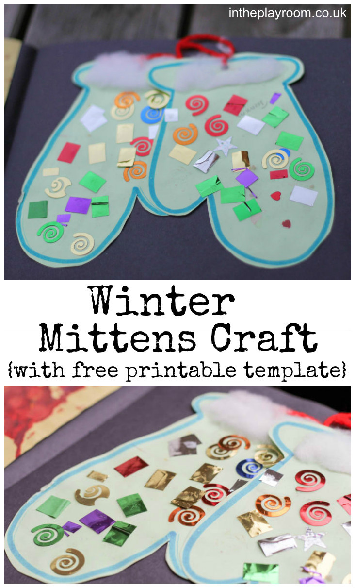 Printable Crafts For Preschoolers  Winter Mittens Craft In The Playroom
