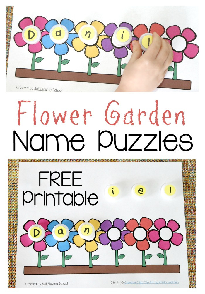 Printable Crafts For Preschoolers  Flower Name Puzzle