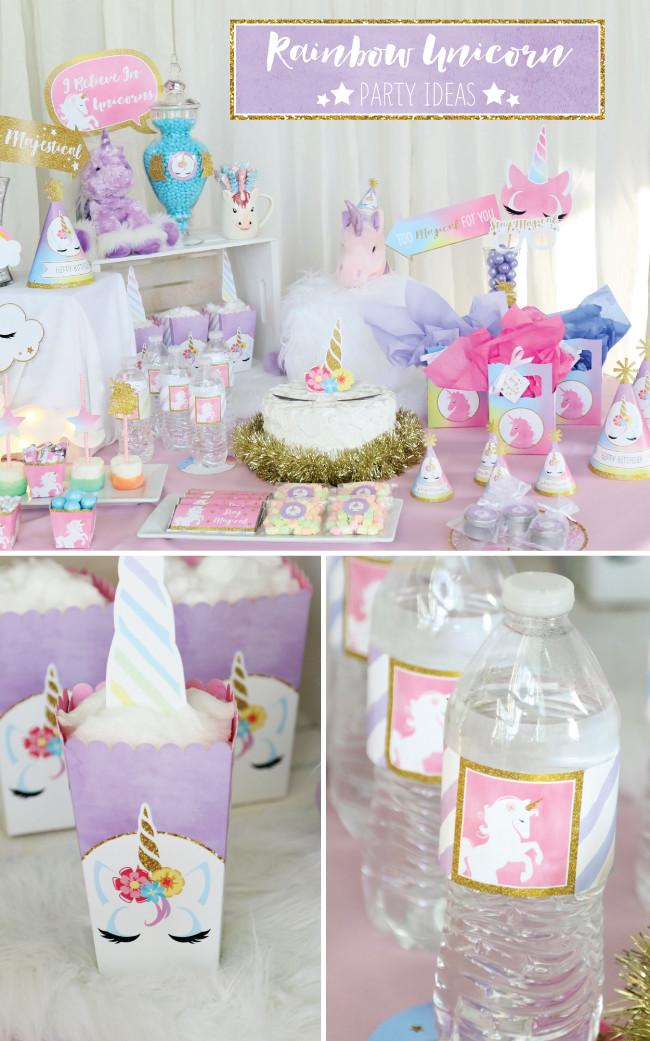 Rainbow And Unicorn Party Ideas  Magical Rainbow Unicorn Party Supplies Marshmallow Pop