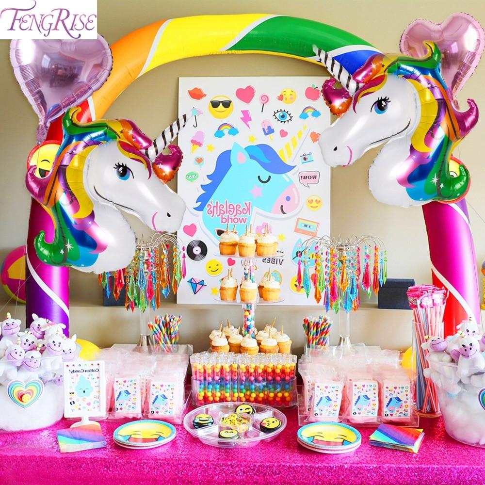 Rainbow And Unicorn Party Ideas  FENGRISE Rainbow Unicorn Party Decoration Aluminum Star