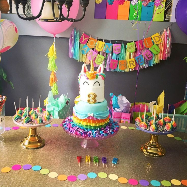 Rainbow And Unicorn Party Ideas  Young Wild and Three Birthday Banner Unicorn Party