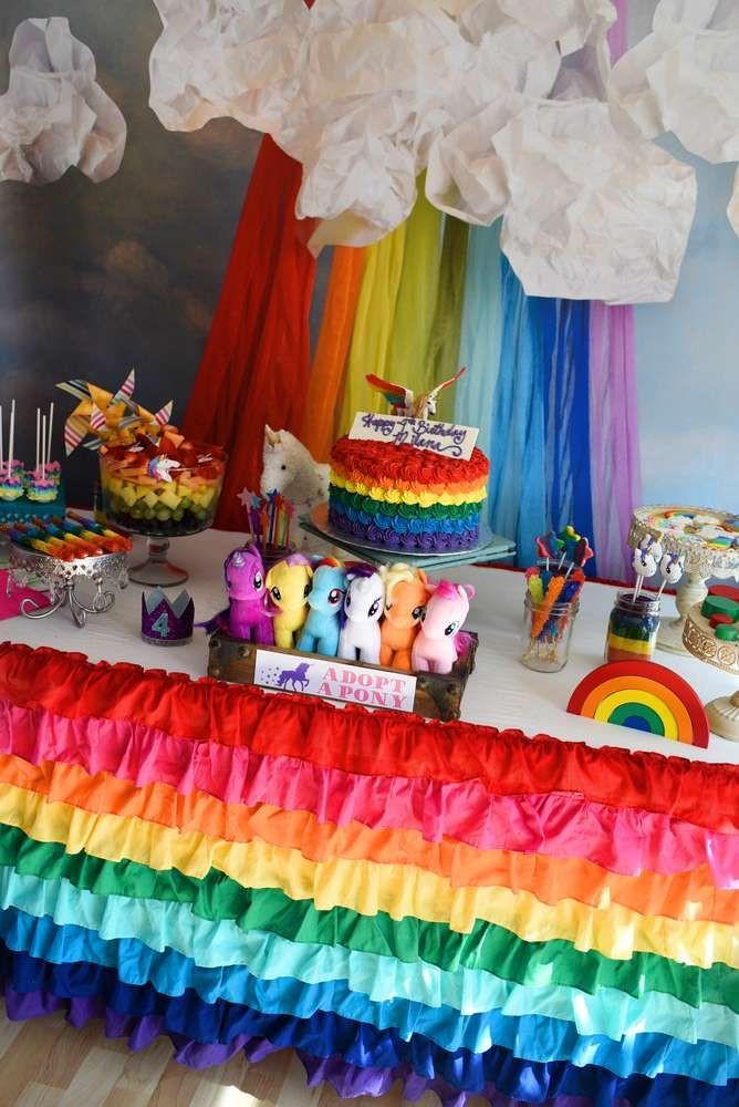 Rainbow Unicorn Birthday Party Ideas  Dessert table at a rainbows and unicorns birthday party