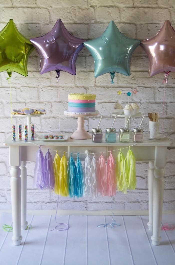 Rainbow Unicorn Birthday Party Ideas  Kara s Party Ideas Colorful Unicorn Rainbow Birthday Party