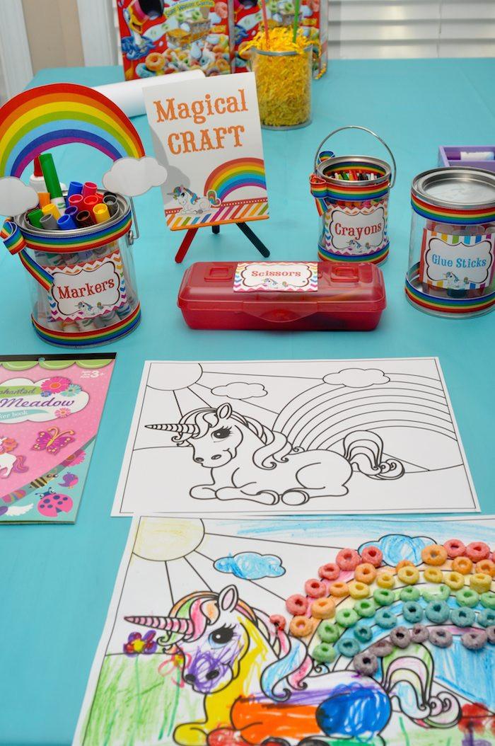 Rainbow Unicorn Birthday Party Ideas  Kara s Party Ideas Rainbow Unicorn Art Party via Kara s