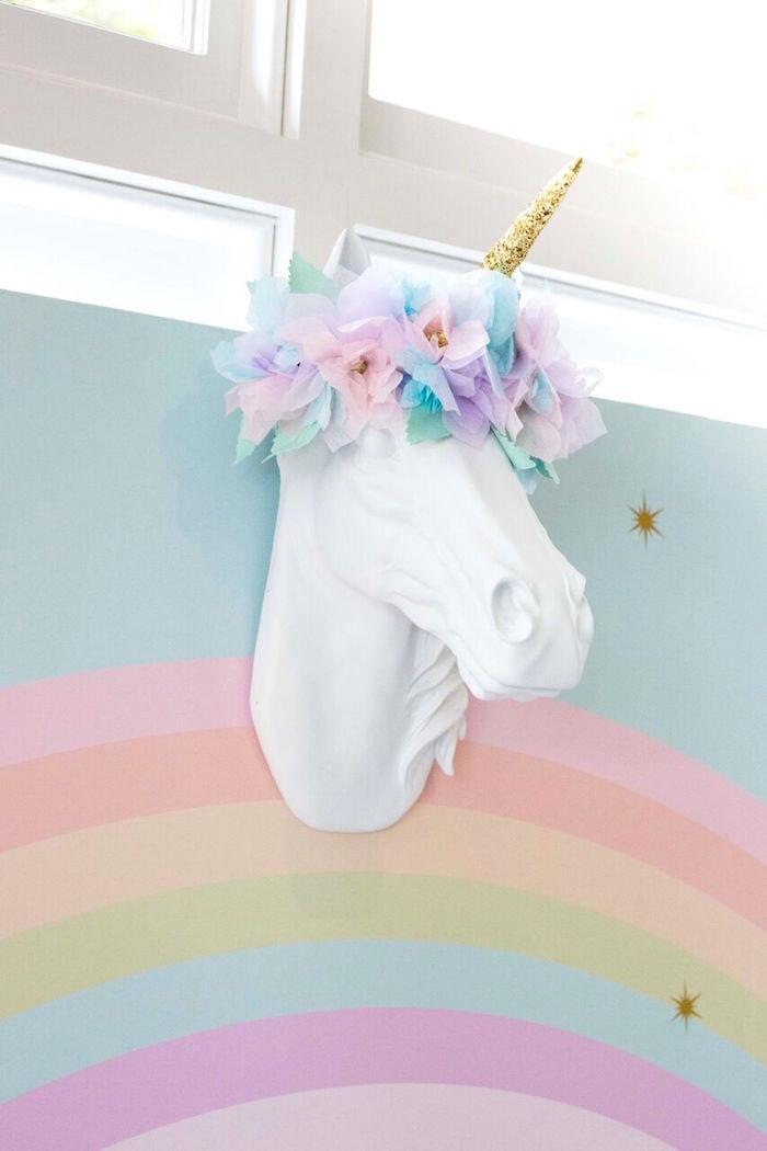 Rainbow Unicorn Birthday Party Ideas  Kara s Party Ideas Floral Rainbow Glam Unicorn Birthday