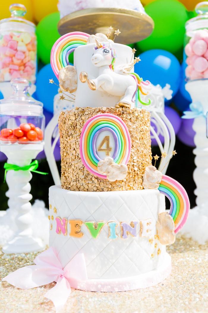 Rainbow Unicorn Birthday Party Ideas  Kara s Party Ideas Gold Rainbow Unicorn Birthday Party