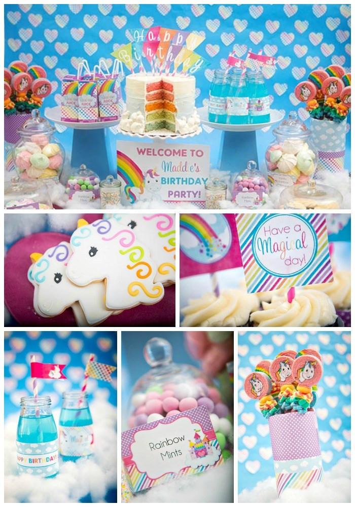 Rainbow Unicorn Birthday Party Ideas  Rainbow Unicorn Party B Lovely Events