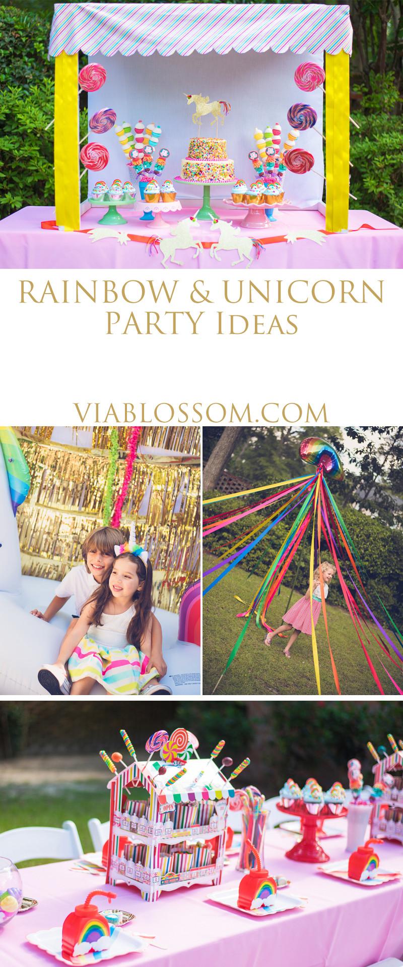 Rainbow Unicorn Birthday Party Ideas  Rainbow and Unicorn Birthday Party Via Blossom