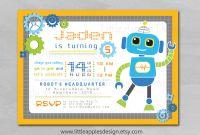 Robot Birthday Invitations Unique Robot Invitation Robot Birthday Invitation Robot