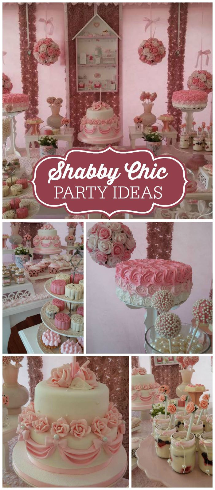 Shabby Chic Birthday Decorations  A shabby chic girl birthday party with pink and white