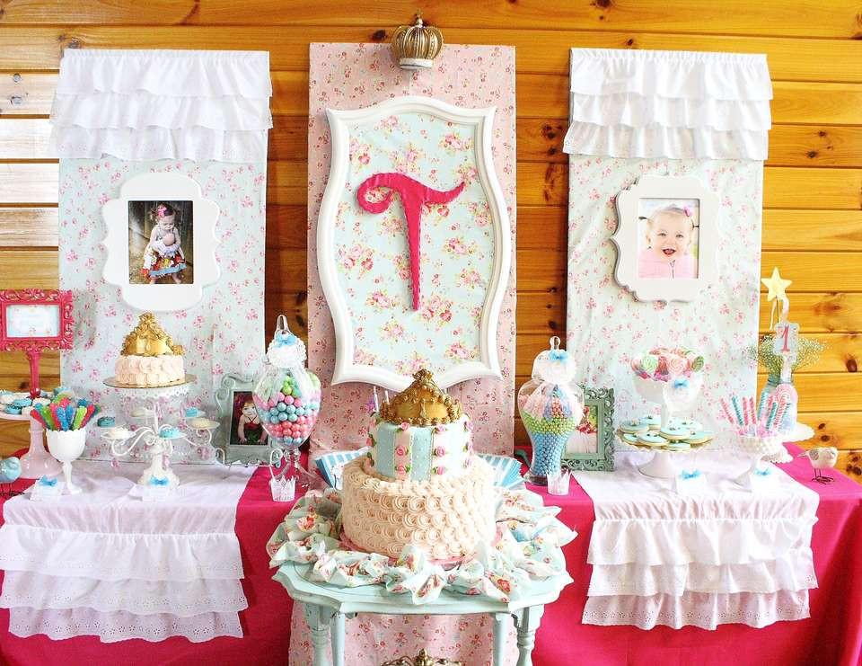 "Shabby Chic Birthday Decorations  Princess Birthday ""Shabby Chic Baby Princess 1st"