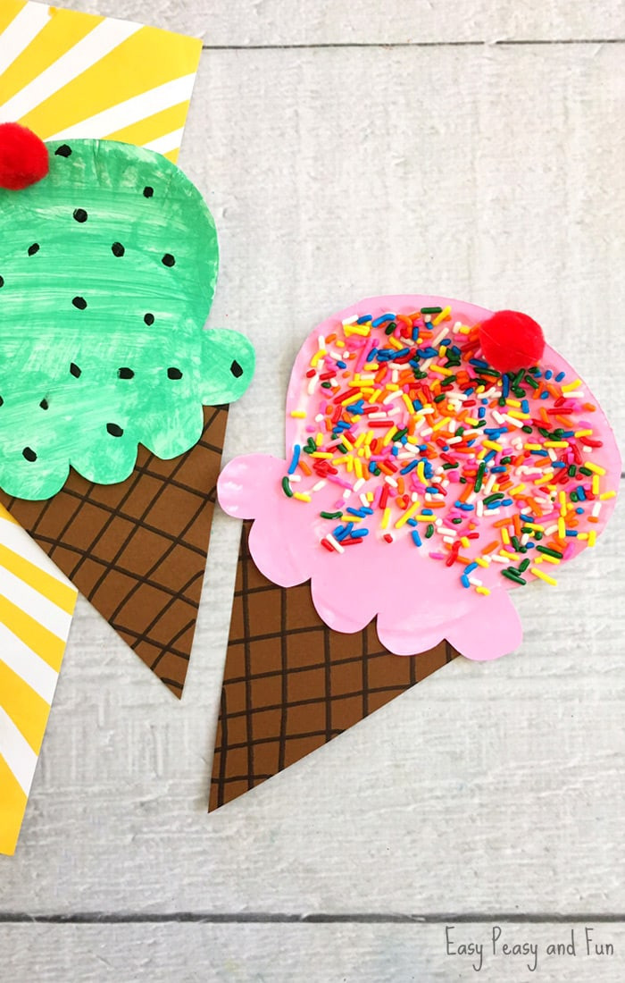Simple Crafts For Kids  Paper Plate Ice Cream Craft Summer Craft Idea for Kids