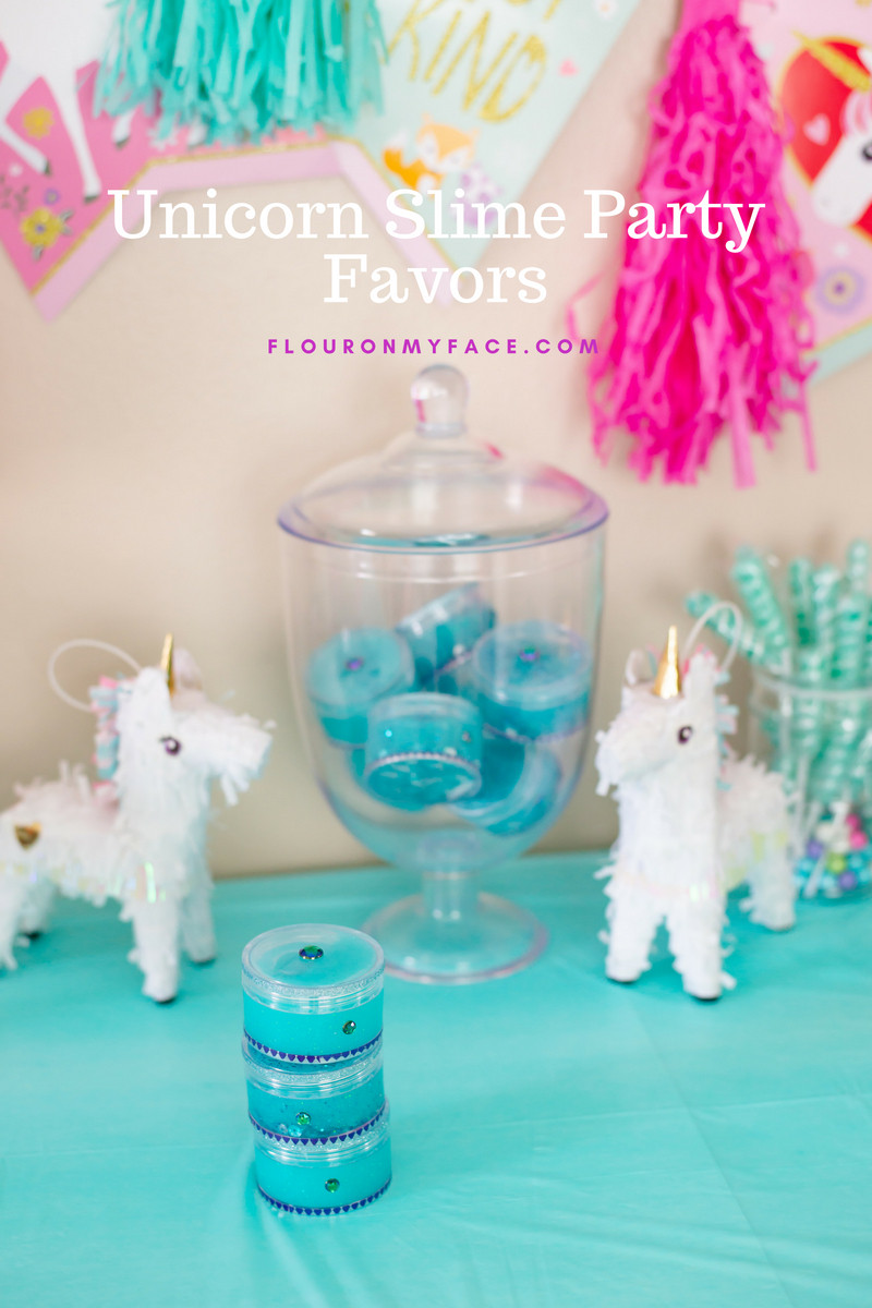 Slime Birthday Party Ideas  Fun and Enchanting Unicorn Slime Party Favors Flour