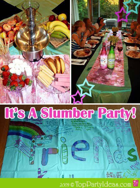 Slumber Party Dinner Ideas  Sleepover Party ideas Birthdays