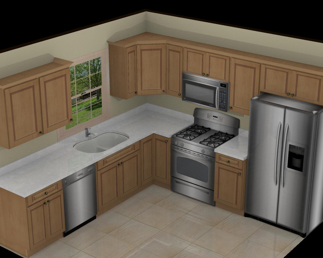 Small Kitchen Layout  Foundation Dezin & Decor 3D Kitchen Model Design