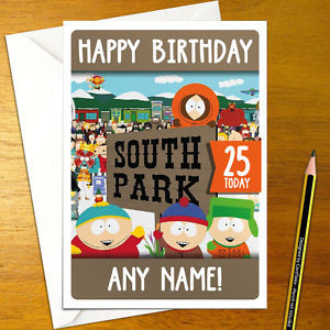 South Park Birthday Card  SOUTH PARK Personalised Birthday Card A5 cartmen kenny