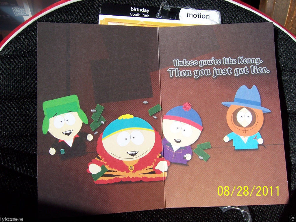 South Park Birthday Card  south park 4pc motion holographic birthday cards free