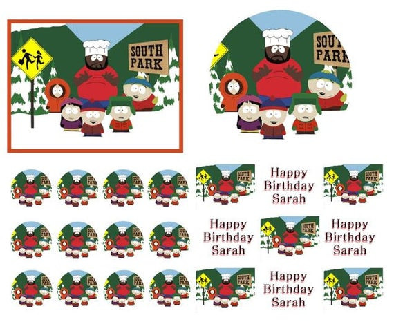 South Park Birthday Card  SOUTH PARK Birthday Cake Frosting Edible by