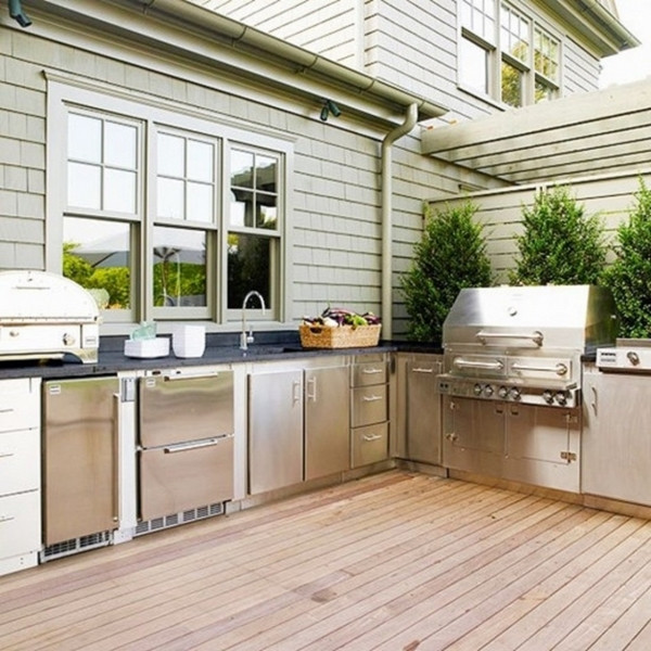 Stainless Steel Doors For Outdoor Kitchen  Outdoor kitchen plans and ideas for a convenient organization