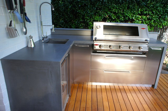 Stainless Steel Doors For Outdoor Kitchen  Outdoor Kitchens with Polished Concrete Benchtops