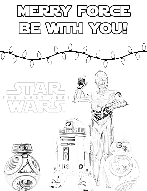 Star Wars Christmas Coloring Pages  The Last Jedi Droids Holiday Coloring Page for Christmas