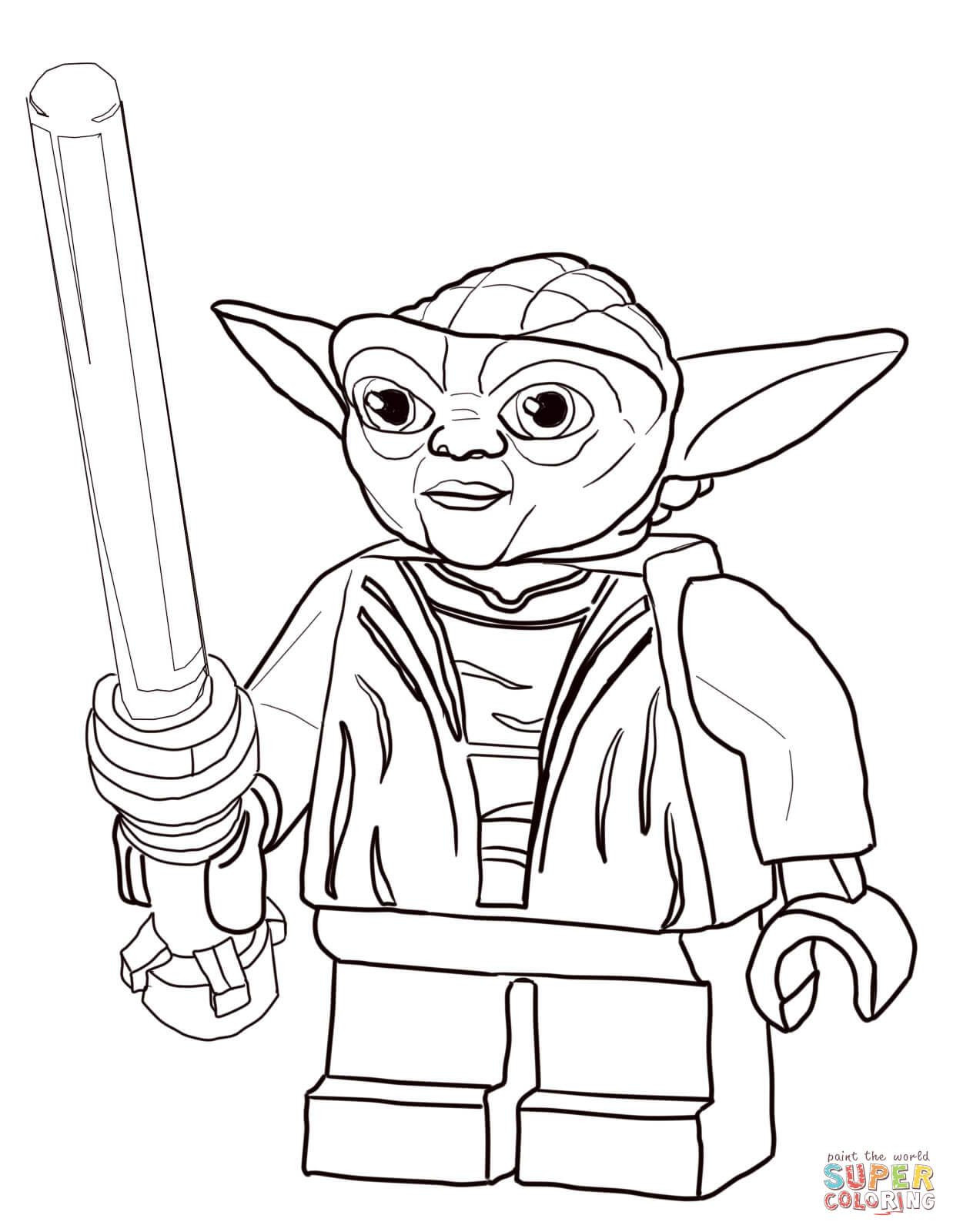 Star Wars Christmas Coloring Pages  Lego Star Wars Master Yoda Super Coloring