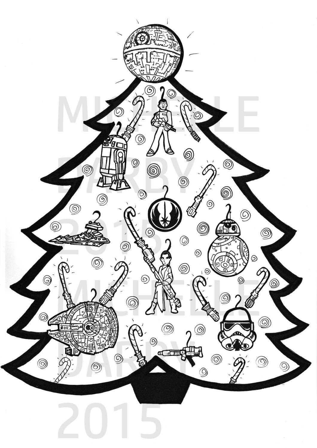Star Wars Christmas Coloring Pages  Star Wars Christmas Tree Colouring Page
