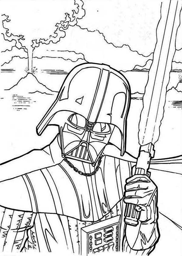 Star Wars Christmas Coloring Pages  The Evil Darth Vader In Star Wars Coloring Page Download