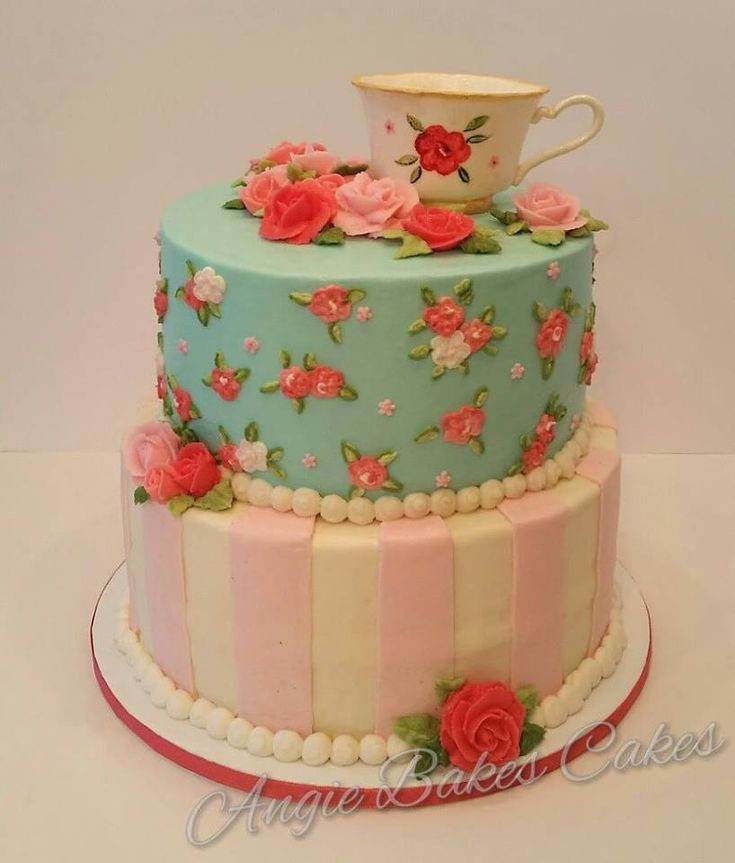 Tea Party Cake Ideas  Vintage china tea party themed cake with handmade
