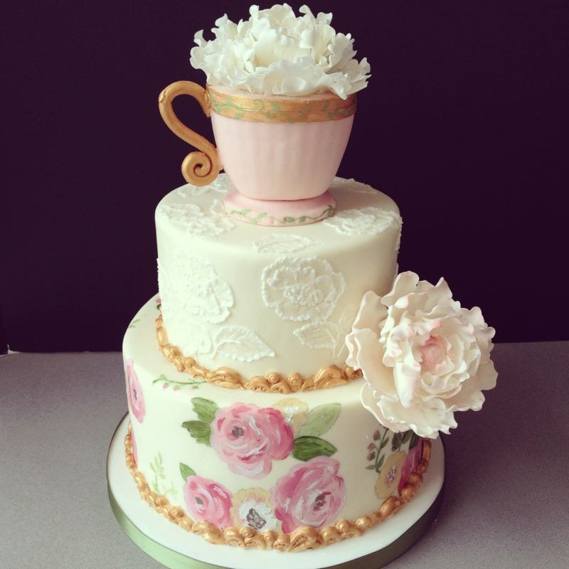 Tea Party Cake Ideas  Bakin Bits Bakery Tea Party Bridal Shower Cake