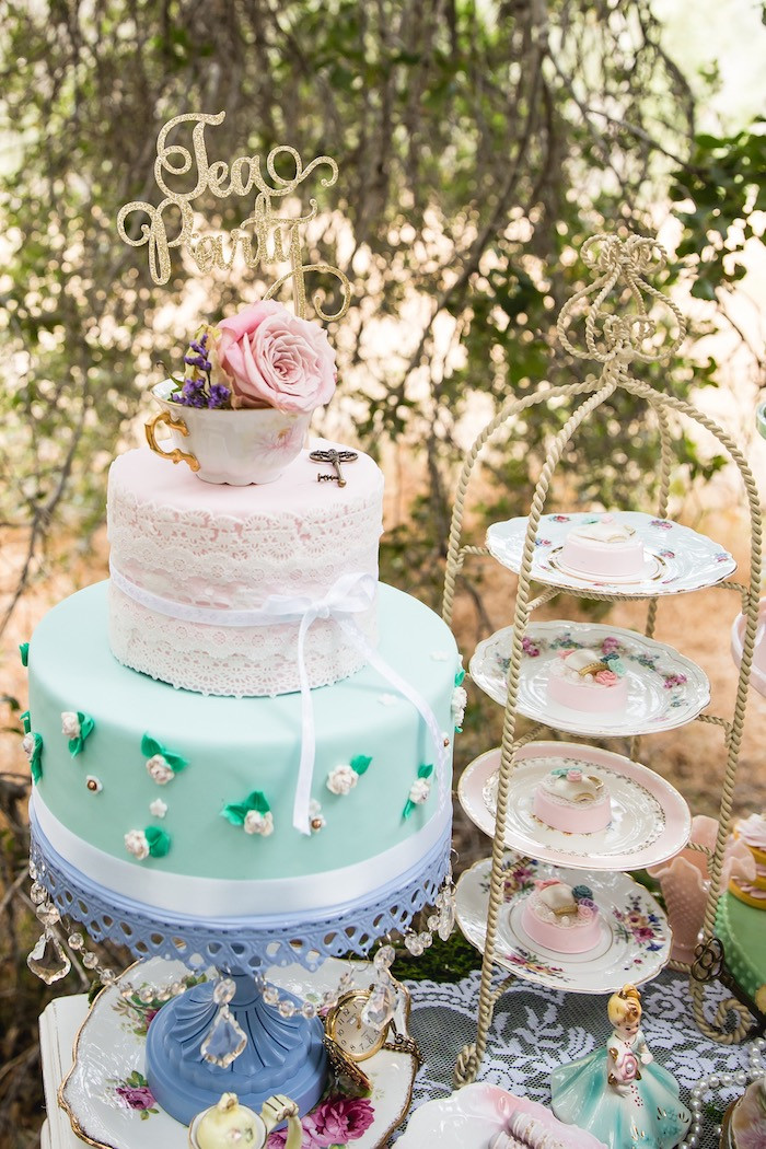 Tea Party Cake Ideas  Kara s Party Ideas Vintage Tea Party