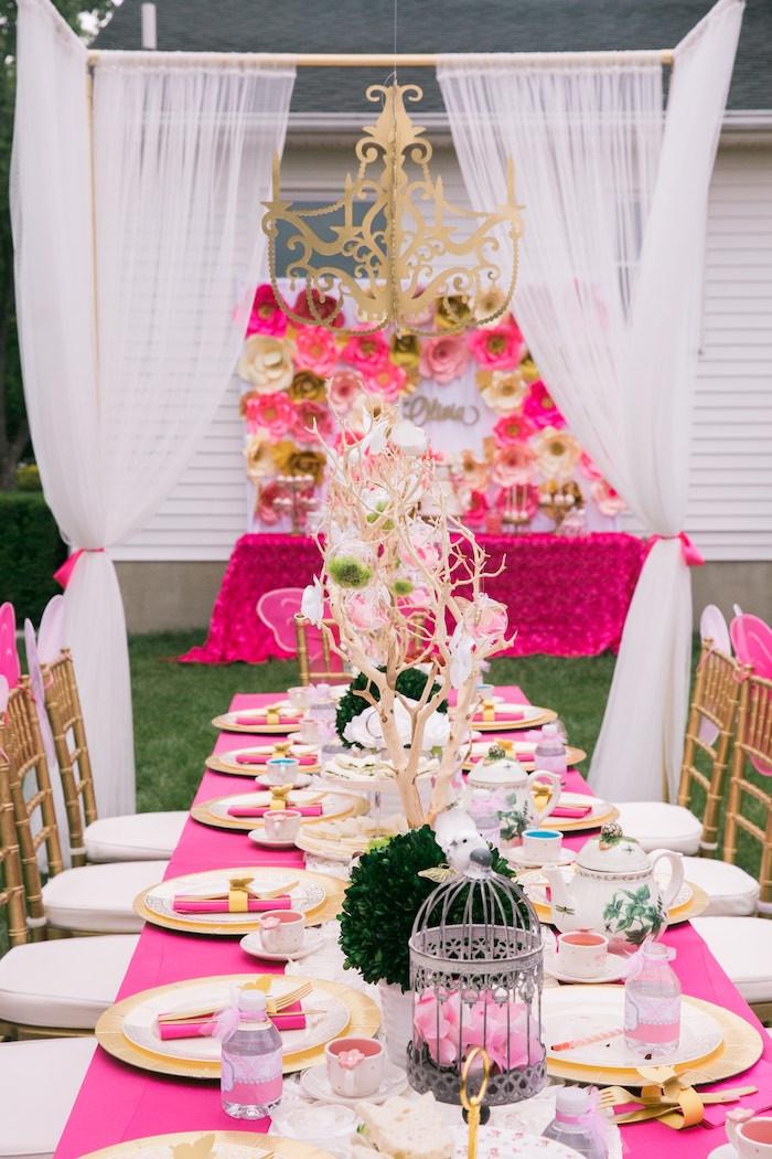 Tea Party Ideas  Kara s Party Ideas Pink & Gold Garden Tea Party