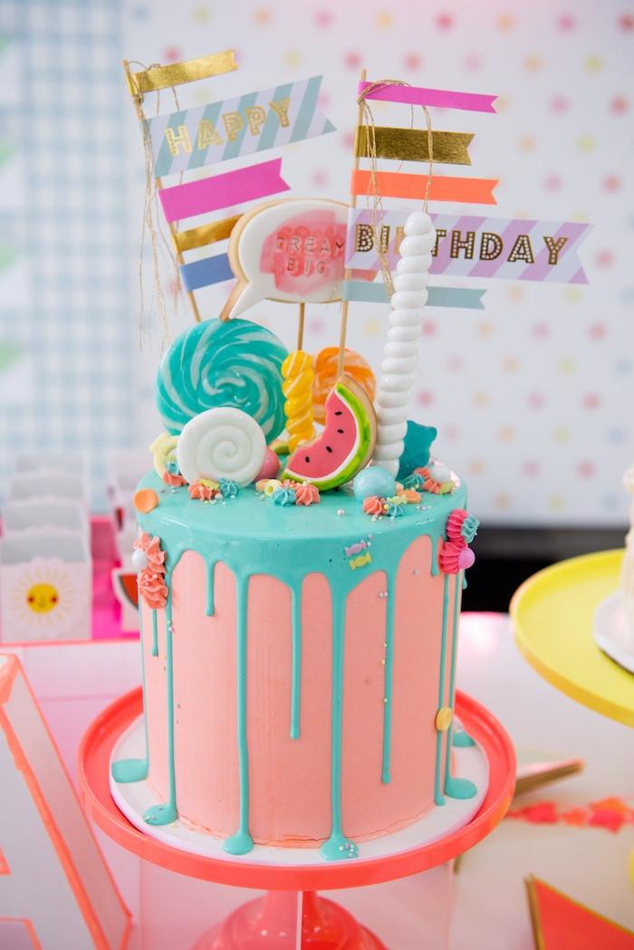 Teenage Birthday Cakes Ideas  Kara s Party Ideas Pastel Neon Teen Birthday Party