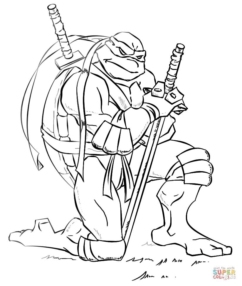 Teenage Mutant Ninja Turtle Coloring Pages  Leonardo from Ninja Turtles coloring page