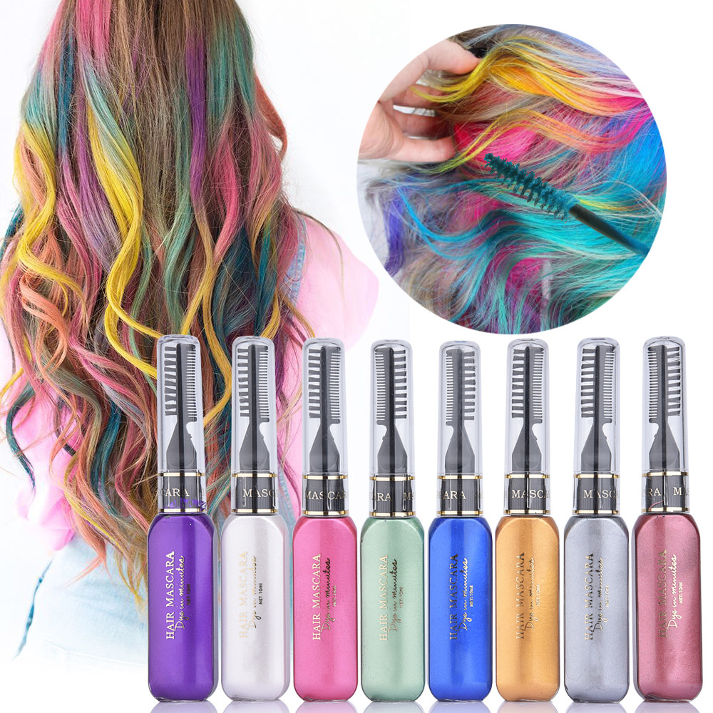 Temporary Hair Color DIY  8 Color Set Hair Mascara Temporary Non toxic DIY Hair