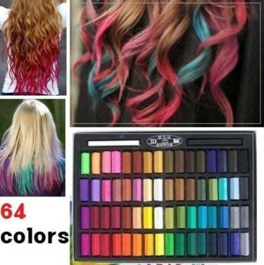 Temporary Hair Color DIY  64 Color Temporary Color Dye Hair Chalk Pastel DIY Salon