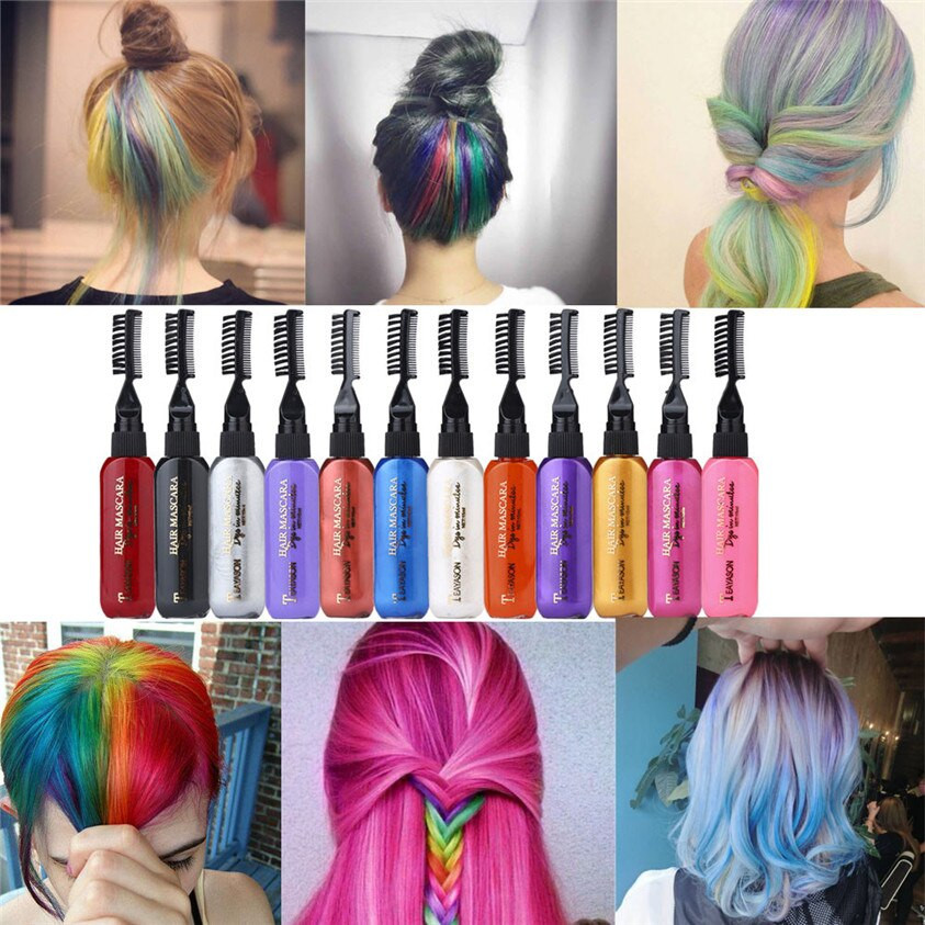 Temporary Hair Color DIY  Aliexpress Buy 13 Colors Temporary Hair Dye Mascara