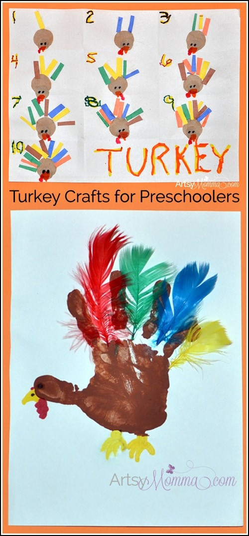 Thanksgiving Art Projects For Preschoolers  Turkey Crafts for Preschoolers Feather Counting Activity