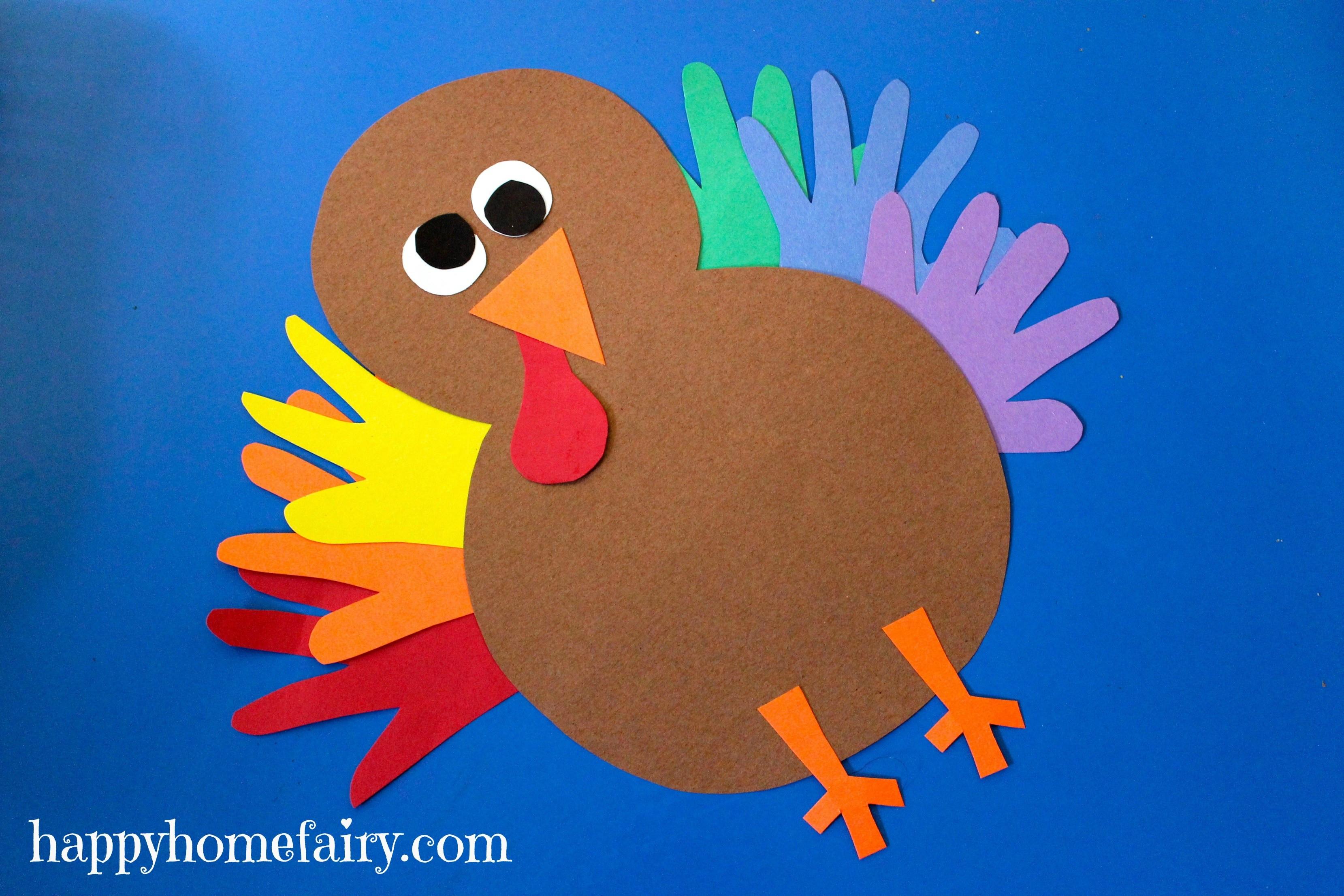 Thanksgiving Art Projects For Preschoolers  Thankful Handprint Turkey Craft FREE Printable Happy